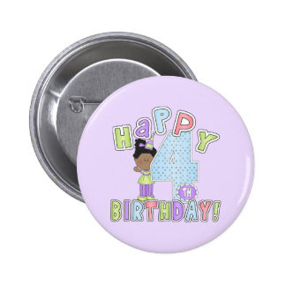 Girls Happy 4th Birthday African American Pin