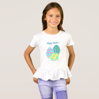Girls Happy Easter Colorful Eggs Ruffle T-Shirt
