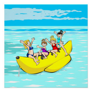 Girls having fun in a Banana Boat Poster