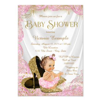 Girls High Heel Shoes Pearls Baby Shower 13 Cm X 18 Cm Invitation Card