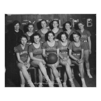 Girls High School Basketball Team Poster
