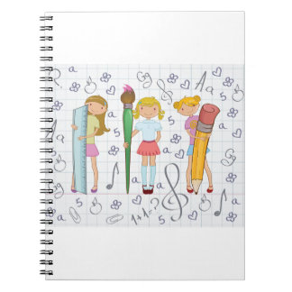 Girls Holding School Supplies Spiral Notebook