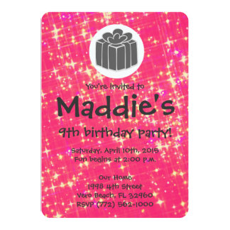 "Girls Hot Pink Sparkle 9th Birthday Party Invite 5"" X 7"" Invitation Card"