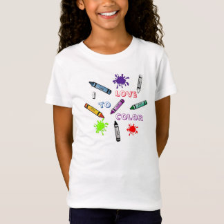 GIRLS I LOVE TO COLOR T-SHIRT SO MUCH FUN