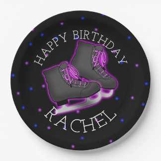 Girl's Ice Skate Birthday Party Paper Plate
