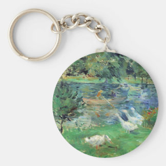 Girls in a boat with geese by Berthe Morisot Key Chain