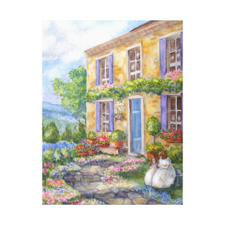 Girls in the Garden Stretched Canvas Print