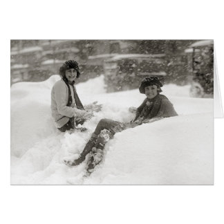 Girls in the Snow, 1922 Card