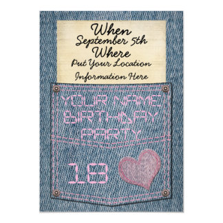 Girls Jeans Pocket Birthday Party Invitations