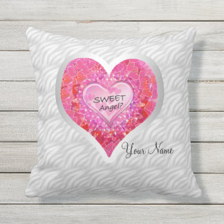 "Girl's Jeweled ""Sweet Angel? Heart"" Outdoor Cushion"