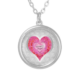 """Girl's Jeweled """"Sweet Angel? Heart"""" Silver Plated Necklace"""