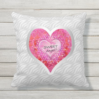 "Girl's Jeweled ""Sweet Angel? Heart"" Throw Pillow"