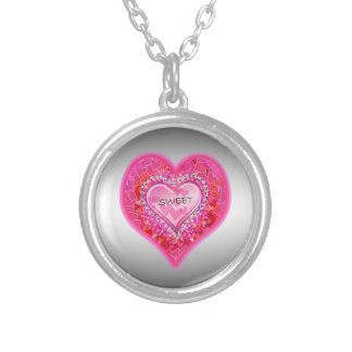"""Girl's Jeweled """"Sweet"""" Heart Necklace"""