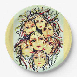 Girls joy painted design 9 inch paper plate