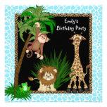 Girls Jungle Safari Birthday Party Personalised Invitation