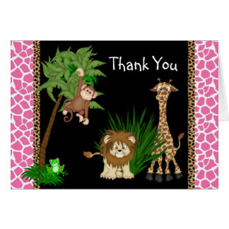 Girls Jungle Safari Thank You Cards