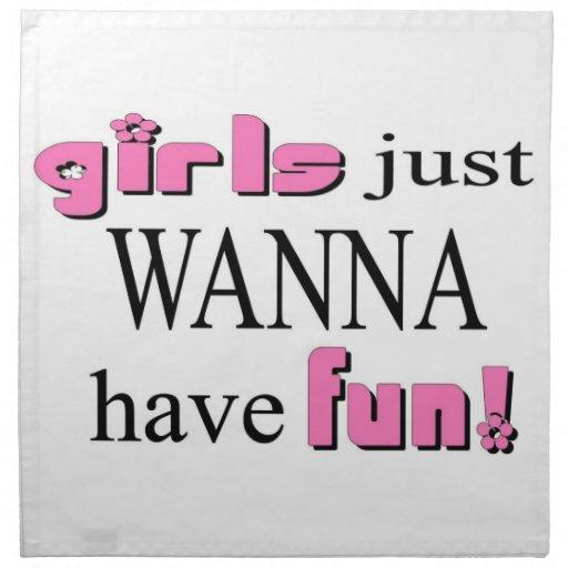 Girls Just Wanna Have Fun Cloth Napkins