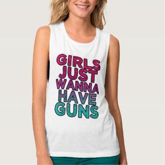 Girls Just wanna have Guns funny women's tank