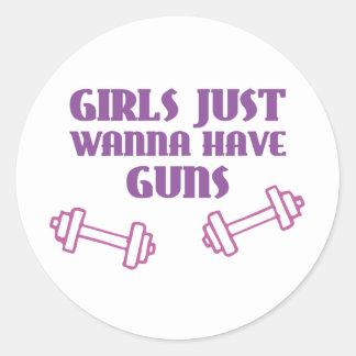 Girls Just Wanna Have Guns Round Sticker