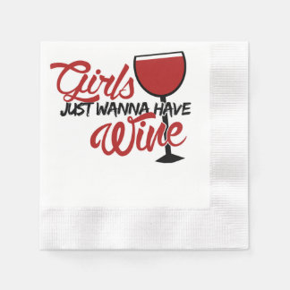 Girls just wanna have wine disposable napkin