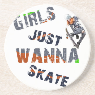 Girls just wanna skate sandstone coaster