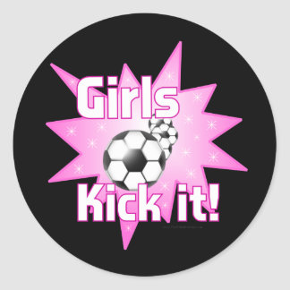 Girls Kick it Round Sticker