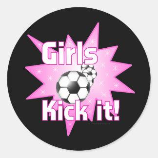 Girls Kick it Round Sticker