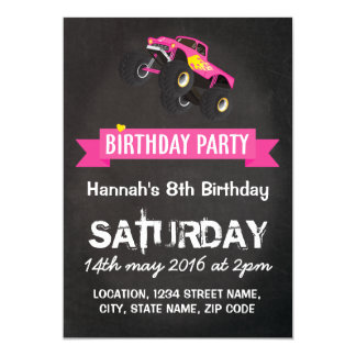 Girls Kids Racing Monster Truck Cars Birthday Card