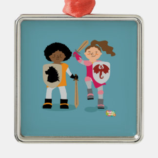 Girls Knight out Metal Ornament