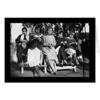 Girls Knitting in Albania 1923 Card