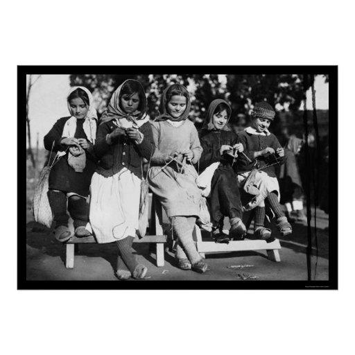 Girls Knitting in Albania 1923 Print