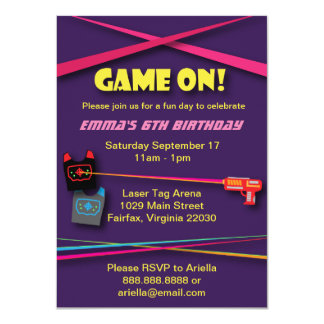 Girl's Laser Tag Birthday Party 11 Cm X 16 Cm Invitation Card
