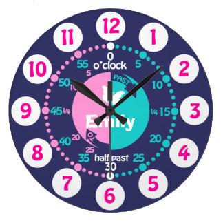 Girls learn to tell time pink blue aqua name clock