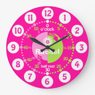Girls learn to tell time pink green name clock