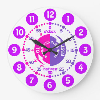 Girls learn to tell time pink purple kids clock