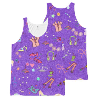 Girls Life lilac All-Over Print Singlet