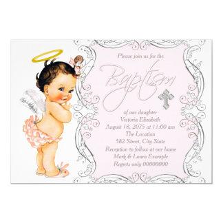 Girls Little Angel Baptism Christening 13 Cm X 18 Cm Invitation Card
