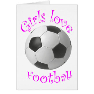 Girls love football art gifts card