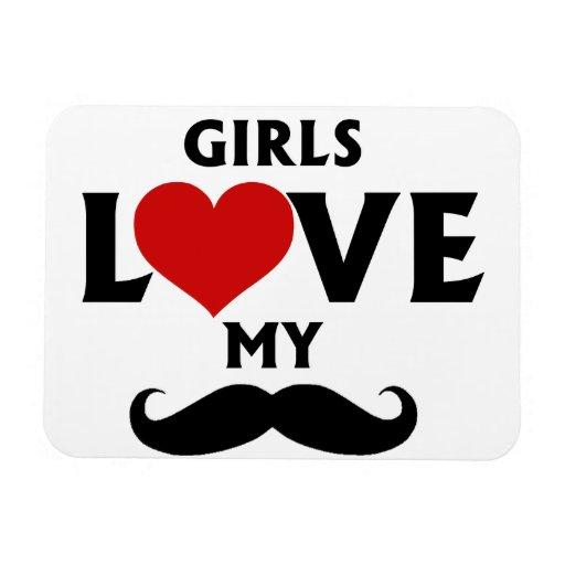 Girls Love My Mustache Flexible Magnets