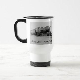 Girls Love Trains Too! Vintage Steam Engine Train 15 Oz Stainless Steel Travel Mug