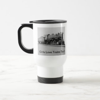 Girls Love Trains Too! Vintage Steam Engine Train Travel Mug