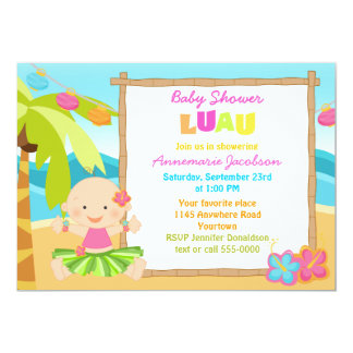 Girls Lua Baby Shower Card