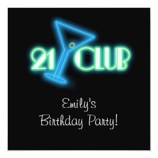 Girls Martini 21st Birthday 13 Cm X 13 Cm Square Invitation Card