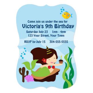 Girls Mermaid Pool Birthday Party Custom Invitations