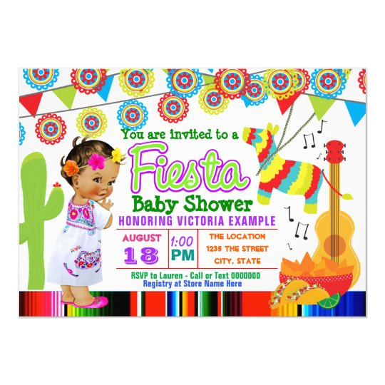 Girls Mexican Fiesta Baby Shower Invitations