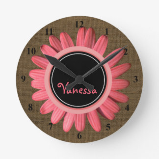 Girls Monogrammed Name | Rustic Burlap Pink Daisy Round Clock