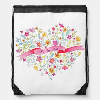 Girls Name flower heart art drawstring bag