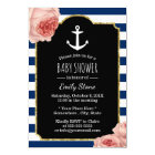 Girl's Nautical Anchor Vintage Floral Baby Shower Card