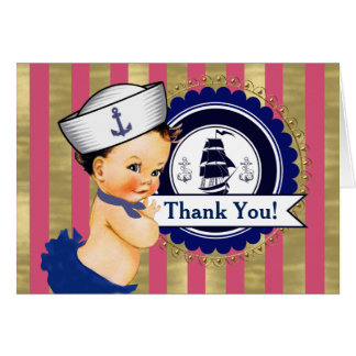 Girls Nautical Baby Shower Thank You Card