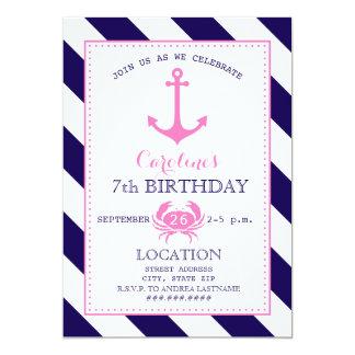 Girl's Nautical Birthday Party - Anchor + Crab 13 Cm X 18 Cm Invitation Card